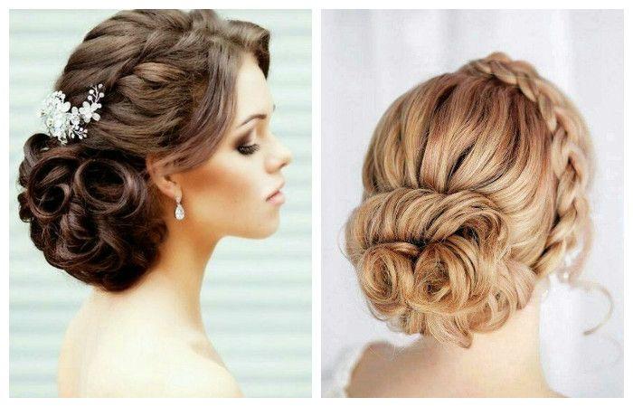 Свадебная прическа с косой и плетением на длинные волосы, фото