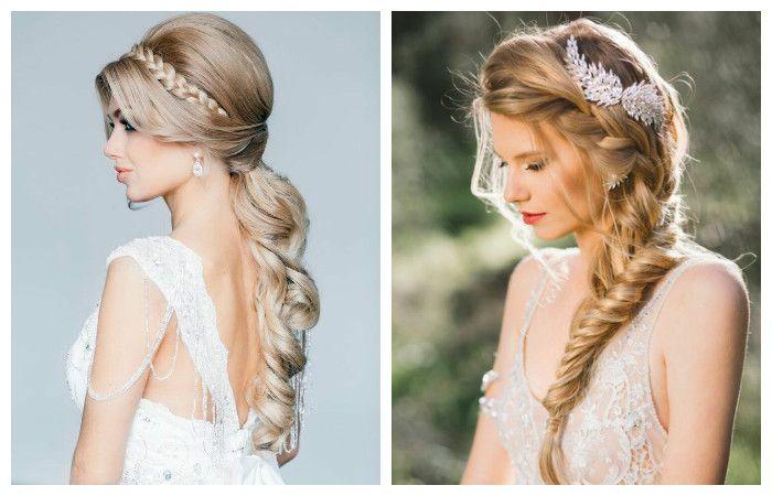 Свадебная прическа с косой на длинные волосы, фото