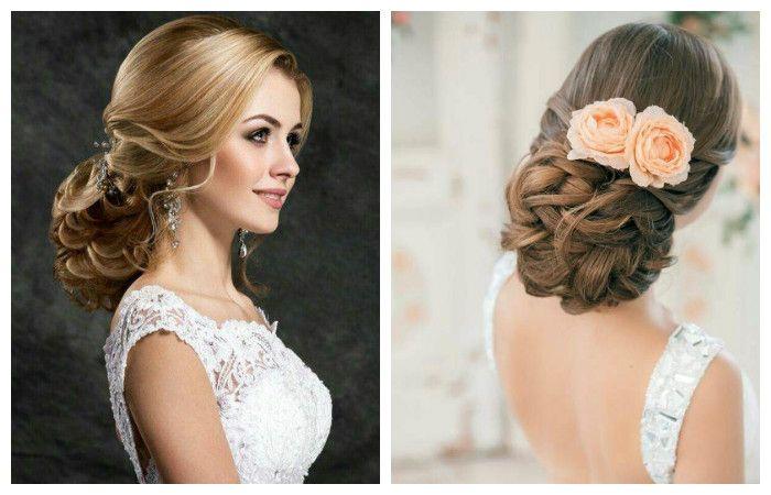Свадебная прическа с низким плетением на длинные волосы, фото