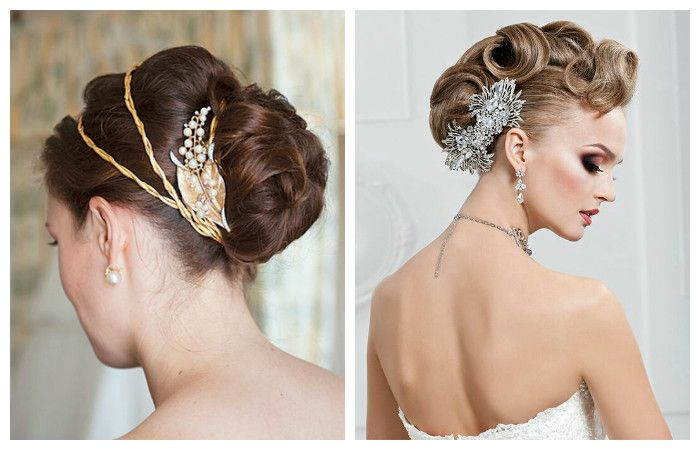 Свадебная прическа с красивыми аксессуарами на длинные волосы, фото
