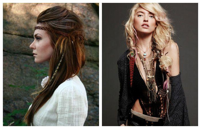 Прическа в богемном этническом стиле на длинные волосы, фото
