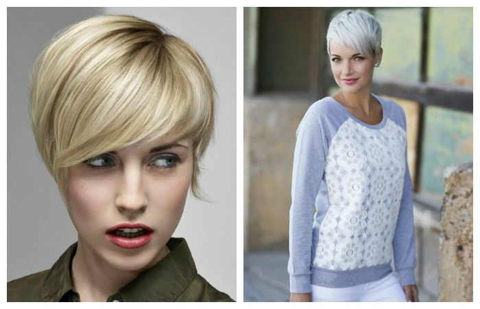 Pixie haircut with a bang on the side for short hair, photo