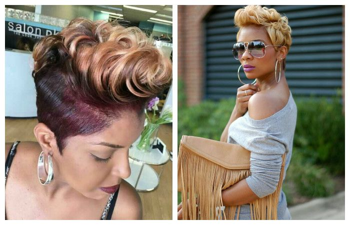 Variants of a fashionable laying of a haircut of a pixy, a photo