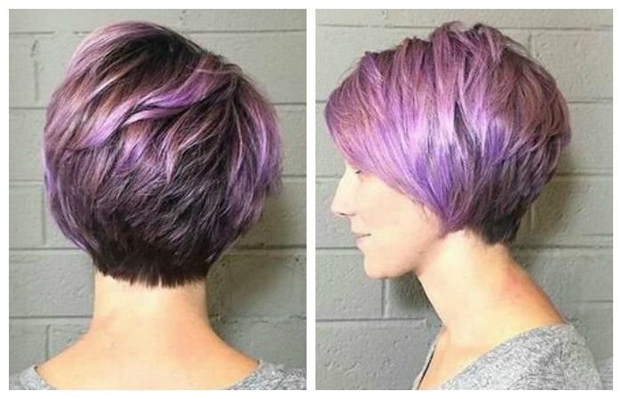 Haircut for short hair, photo side view and rear view
