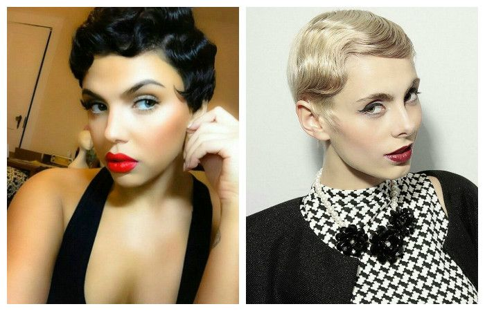 Styling of haircuts in retro style on short hair, photo