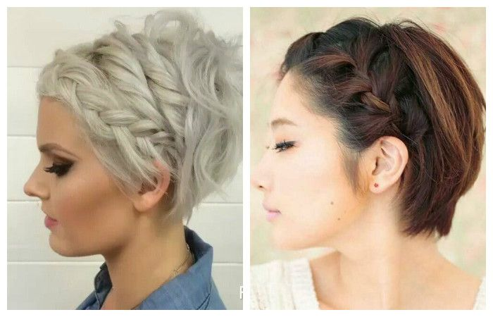 Hairstyle for short hair with a braid, photo