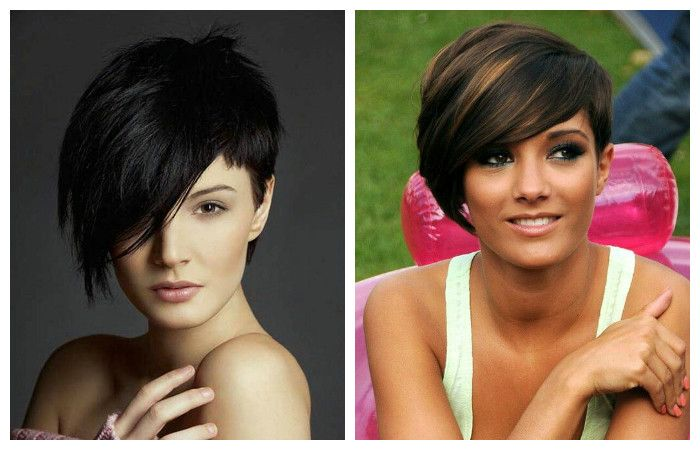 Haircuts with asymmetrical long bangs for short hair, photo
