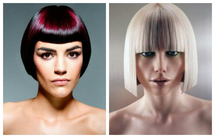 Haircuts with fashionable geometry for short hair