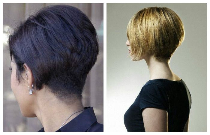 Rear view and side view of a classic bob haircut