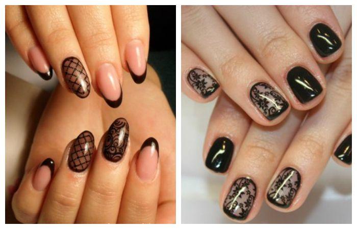 """Дизайн ногтей: френч черный """"вуаль"""", фото"""