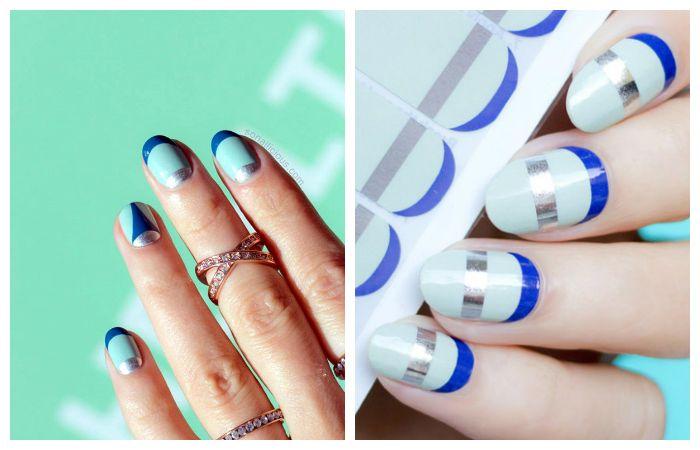 Новинки: яркий дизайн ногтей френч, фото