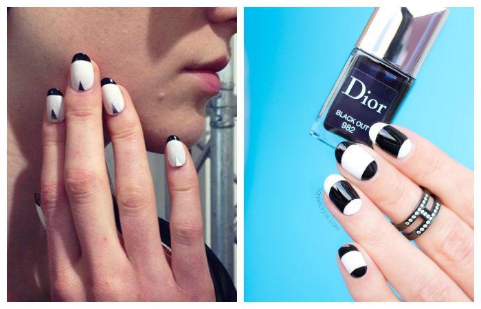 Идеи дизайна ногтей: черно-белый френч, фото