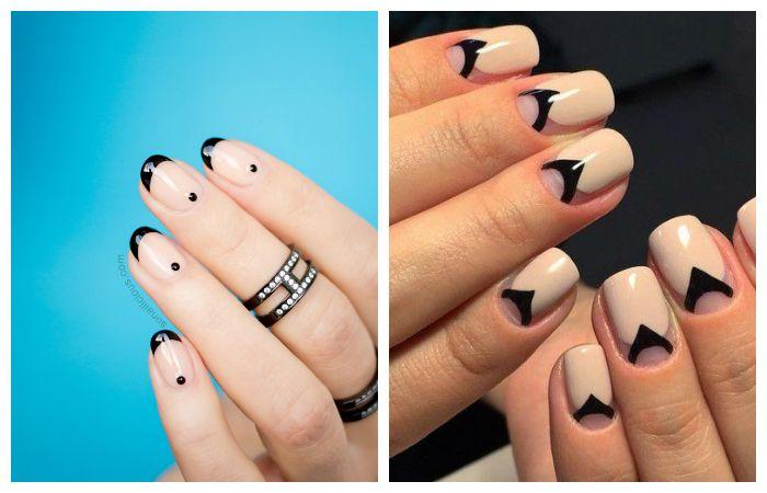 Идеи дизайна ногтей: френч бежевый с черным, фото