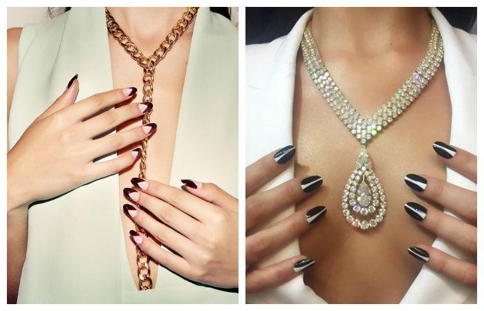 Идеи дизайна ногтей: стильный вытянутый треугольный френч, фото