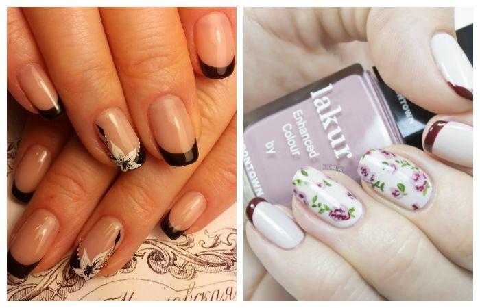Простой дизайн ногтей: френч с цветами, фото