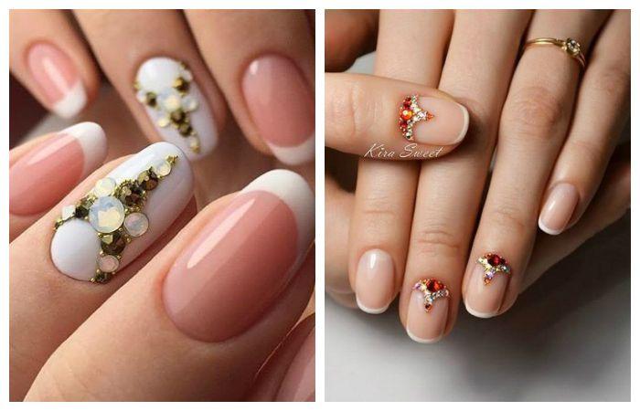 Дизайн ногтей: френч со стразами, фото