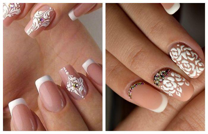 Френч: дизайн ногтей с рисунком, фото