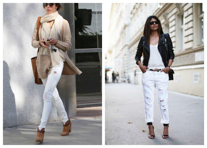 Что носить с белыми рваными джинсами