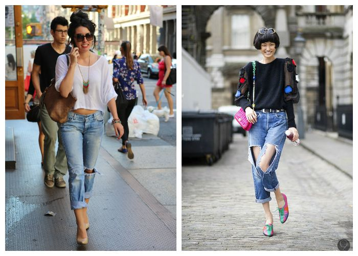 Что носить с укороченными рваными джинсами