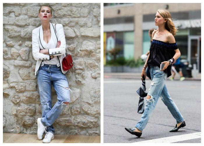 Что носить со светлыми и голубыми рваными джинсами летом