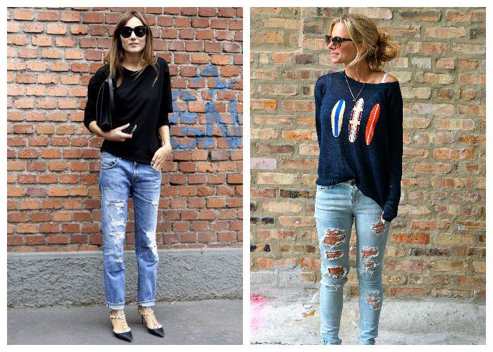 Рваные джинсы с черным джемпером, фото