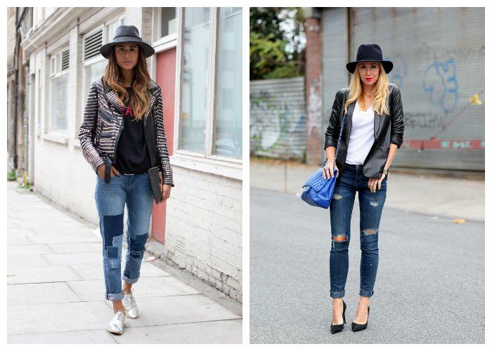 Рваные джинсы с шляпой и пиджаком, фото