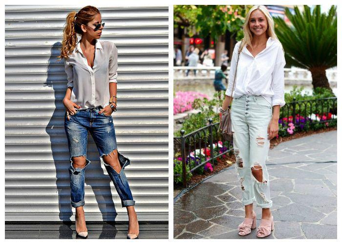 Рваные джинсы с белой рубашкой, фото
