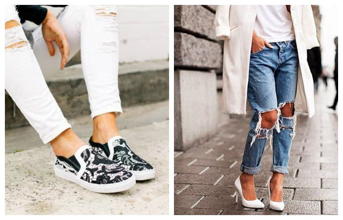 Какую обувь носить с рваными джинсами, фото
