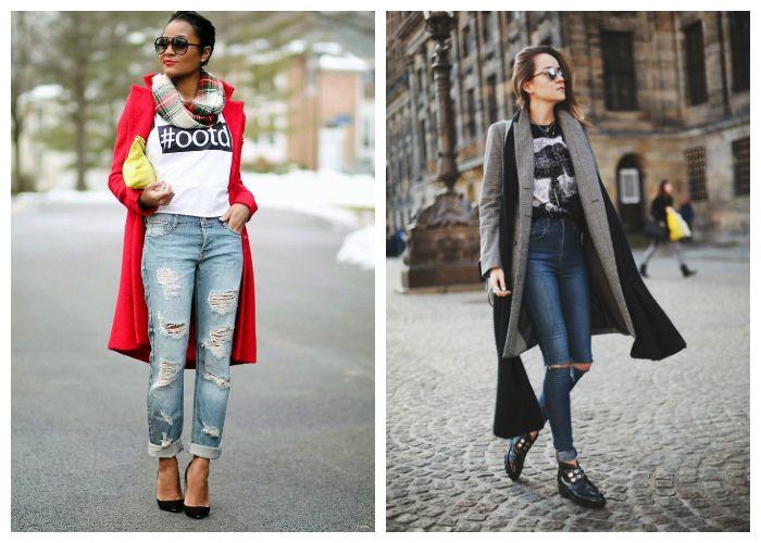 Рваные джинсы с пальто, фото