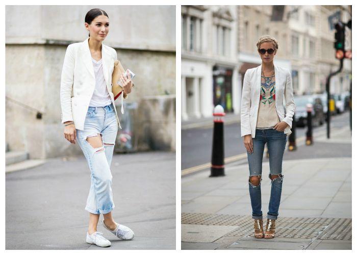 Рваные джинсы с чбелым пиджаком, фото