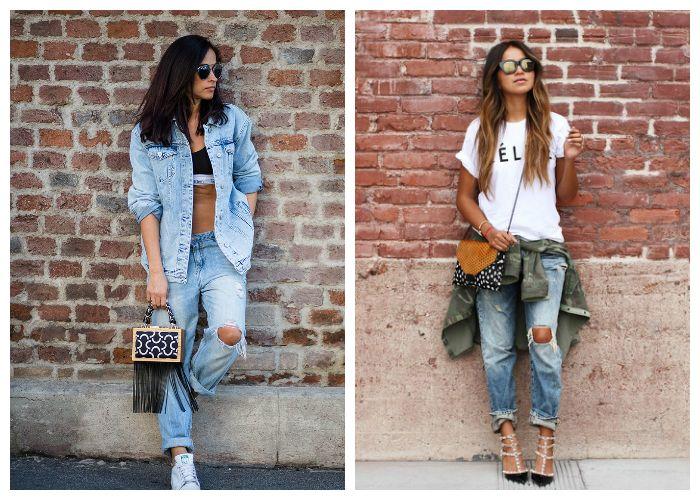 Что носить с рваными джинсами летом