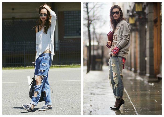 Модные образы с рваными джинсами, фото