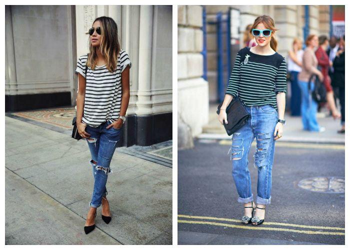 Рваные джинсы с полосатой футболкой или джемпером, фото