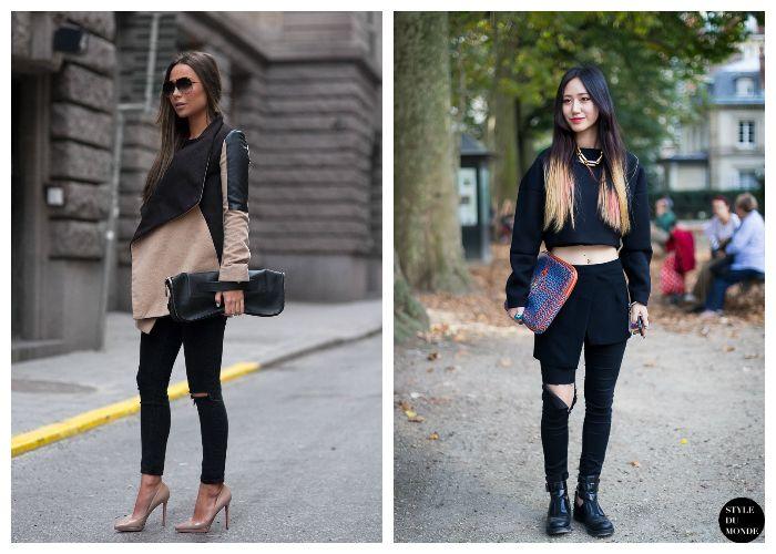 Что носить с черными рваными джинсами