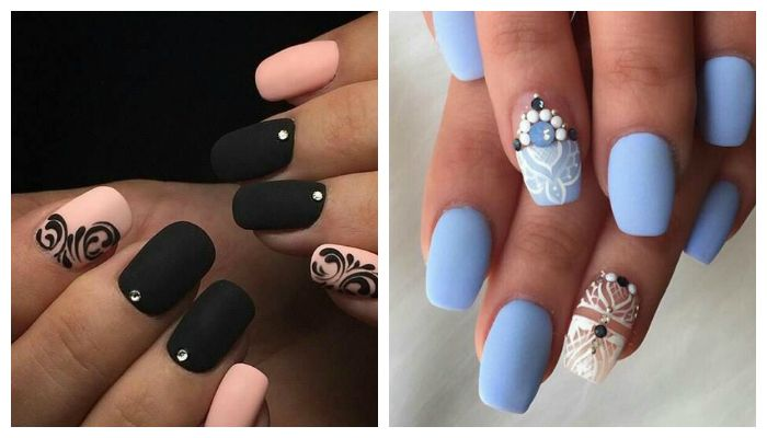 Матовый дизайн ногтей гель лаком, фото