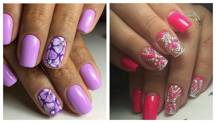 Дизайн ногтей гель лаком с цветочным рисунком, фото