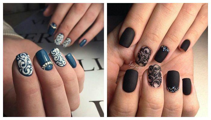 Дизайн ногтей гель лаком с вензельным рисунком, фото
