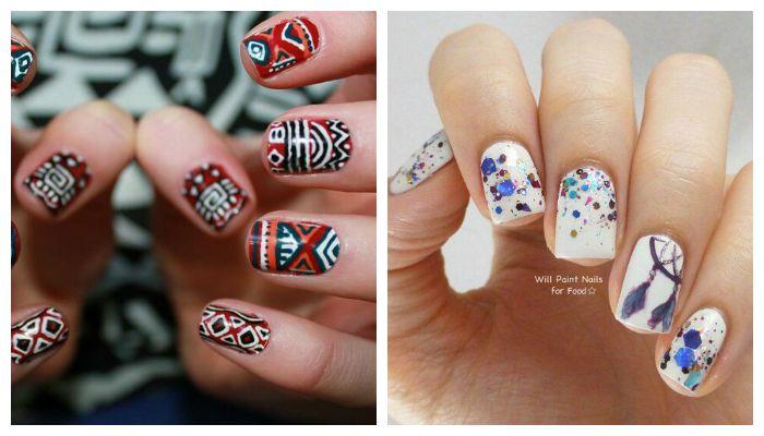 Дизайн ногтей гель лаком с этническим рисунком, фото
