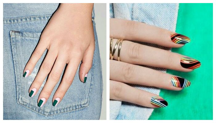Дизайн ногтей гель лаком с геометрическим рисунком, фото