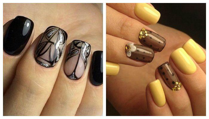 Дизайн ногтей гель лаком с прозрачным эффектом, фото