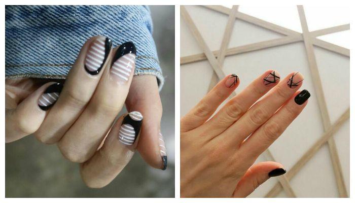 Дизайн ногтей гель лаком с негативным пространством, фото