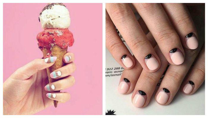 Новые вариации французского и лунного дизайна ногтей гель лаком, , фото
