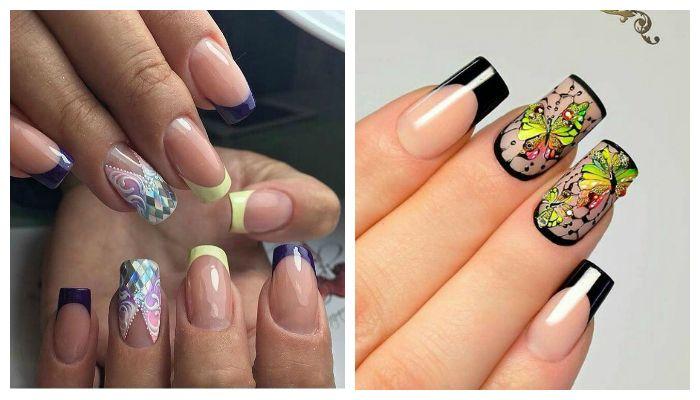 Французский и лунный дизайн ногтей гель лаком со стразамми и рисунками, фото
