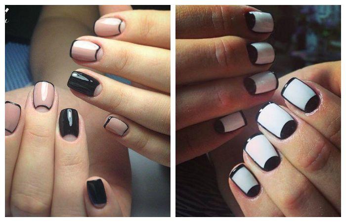 Черно-белый лунный или френч дизайн коротких ногтей, фото