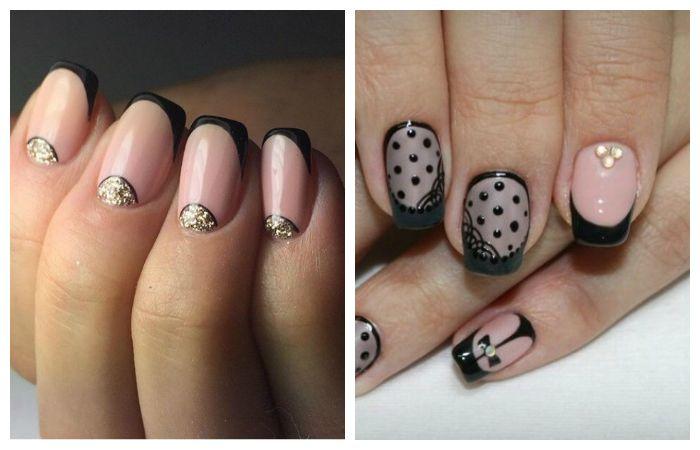 Черны френч на короткие ногти, фото