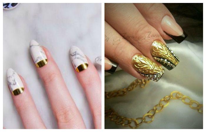 Золотой дизайн ногтей. Френч или лунный маникюр на короткие ногти, фото