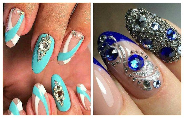 Дизайн коротких ногтей с крупными стразами и украшениями, фото