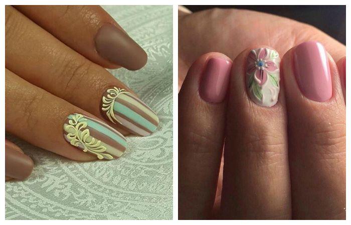 Красивые рисунки кисьтю и гель-краской на короткие ногти, фото