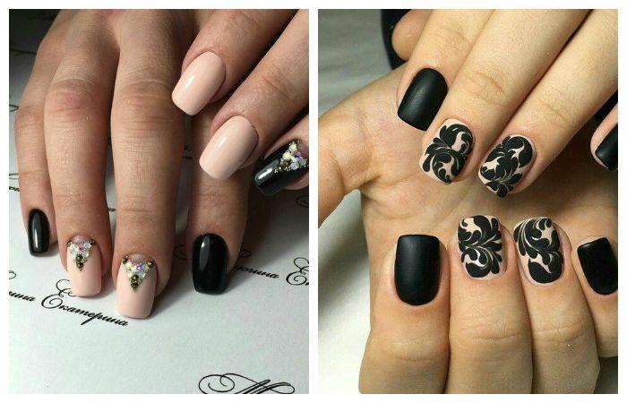 Дизайн в черных тонах на короткие ногти, фото