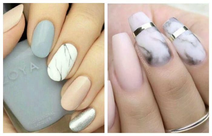 Мраморный дизайн ногтей на короткие ногти, фото